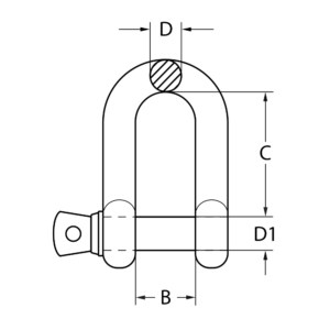 s4-commercial-galvanised-shackle-bow-line-drawing