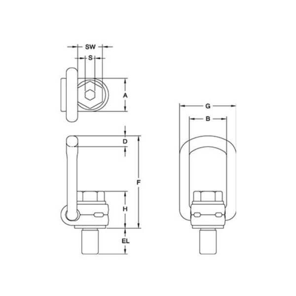 S6 Swivel Load Ring Yoke Line Drawing